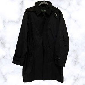 Lauren Ralph Lauren 40R black trench coat long jacket hood zip up mens plus fall